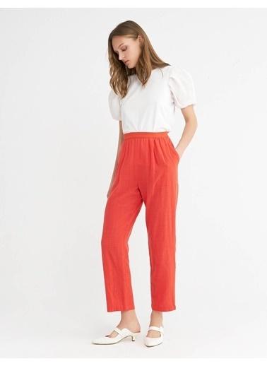 BGN Pamuk Keten Karısım Rahat Kesım Pantolon Kırmızı
